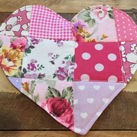 Roses, Heart Patchwork, Oversized Coaster, Mug Rug, Quilted Valenties Gift