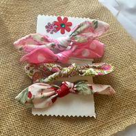 Fabric Hair Bow, Hair Band, Pink, Polka Dot, Roses, Shabby Chic, Hair Accessory,