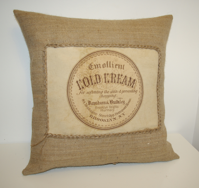 Vintage Cold Cream Sign Hessian Cushion Cover