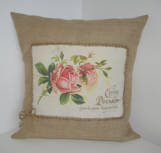 Vintage Roses Flower Hessian Cushion Cover
