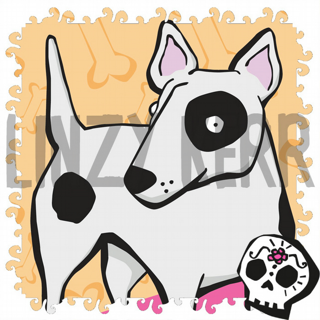 English Bull Terrier dog illustration - digital art print