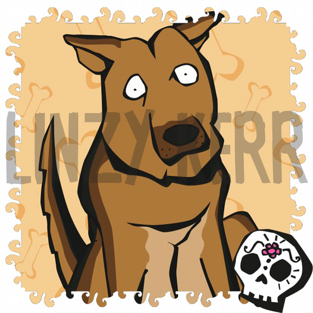 Alsatian German Shepherd dog illustration - digital art print