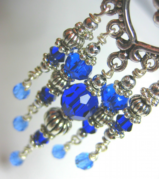 Ocean Blue Crystal Chandelier Earrings