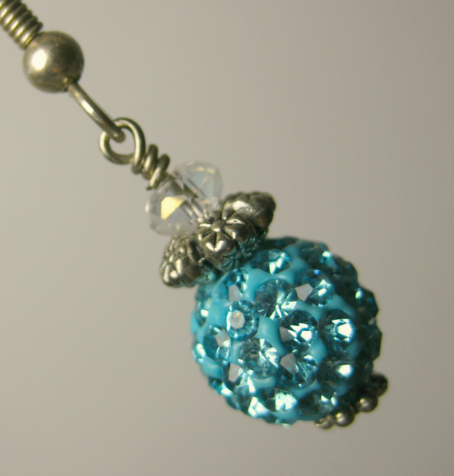 Sparkling Turquoise Pave Bead, Clear Crystal and Tibetan Silver Earrings