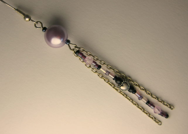 Lilac Pearl Earrings with Bead and Chain Trail