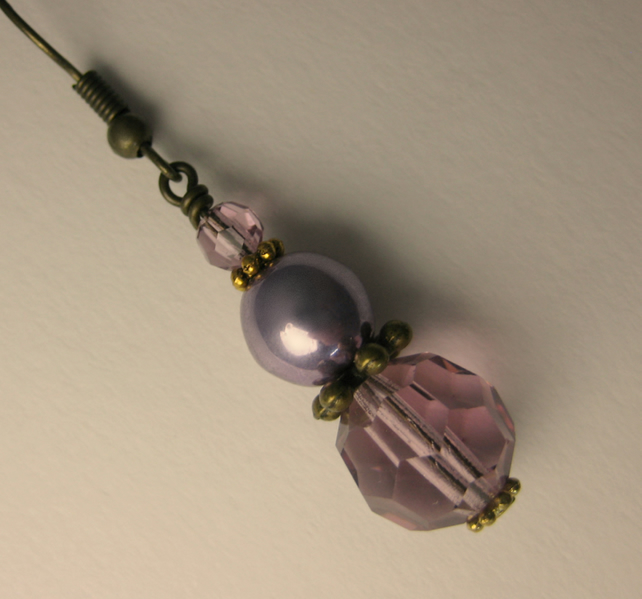 Soft Lilac Crystal and Pearl Antique Gold Earrings