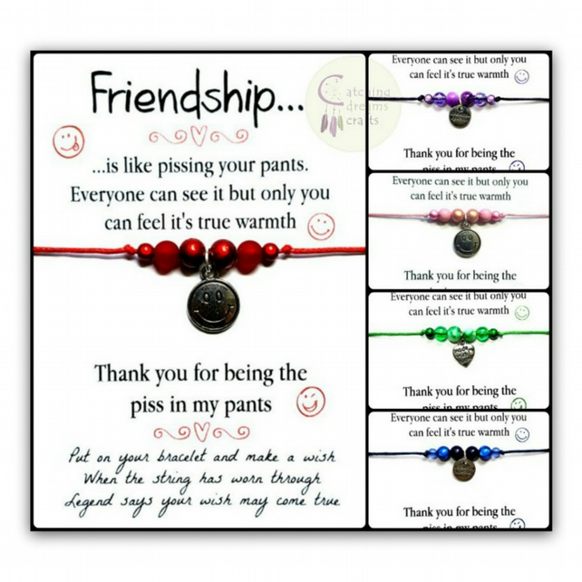 FRIENDSHIP... Humorous Adjustable Wish Bracelet
