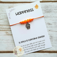 Wish-let, Wish Bracelet - HAPPINESS IS ONLY A CUPCAKE AWAY - Beaded, Friendship