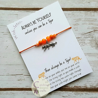 Wish-let, Wish Bracelet - ALWAYS BE YOURSELF - TIGER - Beaded, Friendship