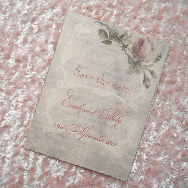 10 Save the Date Cards Shabby Chic (Emily) (Ref 13)