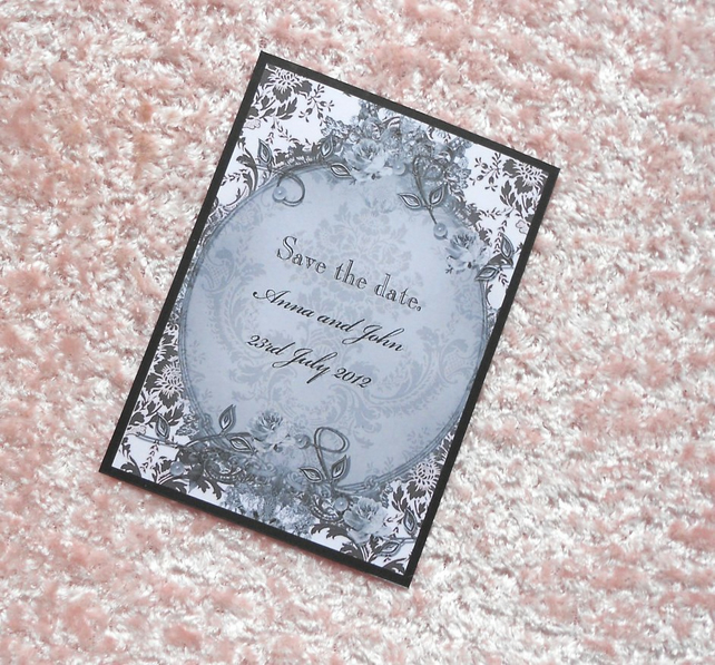 10 Save the Date Cards, Personalised, Monochrome, Black Lace (Anna) (Ref 14)