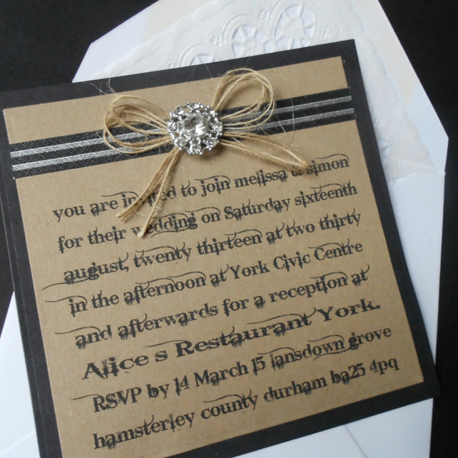 Rustic Country Wedding Invitations X 5 With Pap