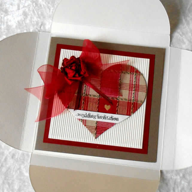 Rustic Wedding Invitations With Red Gingham Tar