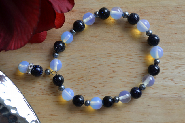 Blue goldstone and Opalite bracelet