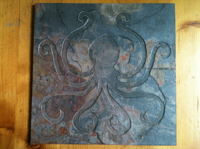Hand Carved Slate - OCTOPUS KRACKEN CTHULHU Wall Hanging - Signature Tile