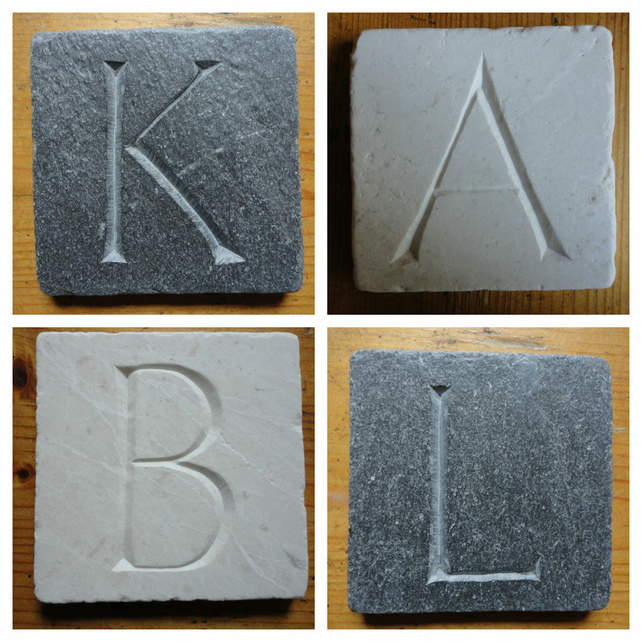PERSONALISED Coasters - Hand Carved Natural Stone- More Designs Available