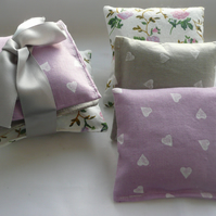 Organic Lavender Sachet Bundle of Three, Vintage Floral Fabric French Cotton