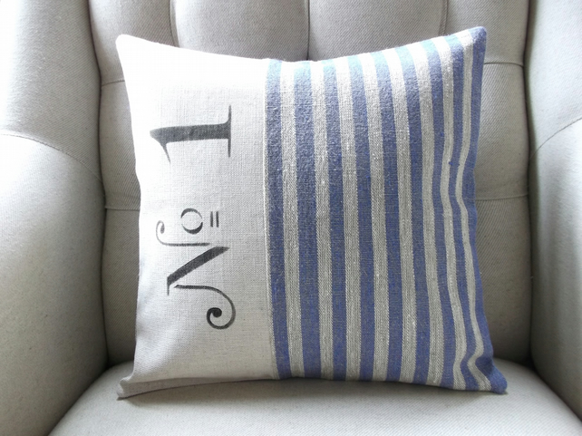 Hand stencilled no 1 cushion