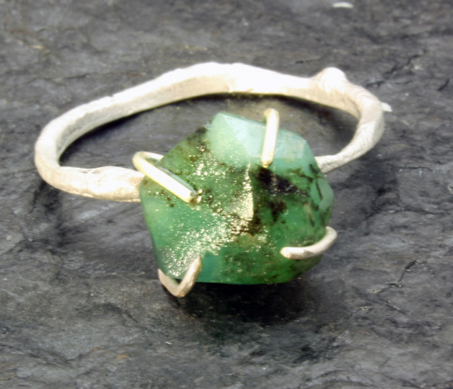 Rough Emerald Ring - Sterling Silver