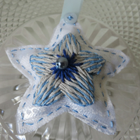 Keyring or Bag Charm, Silver Embroidered Star