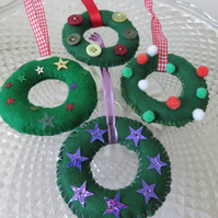 Felt Christmas Wreath Tree Decoration