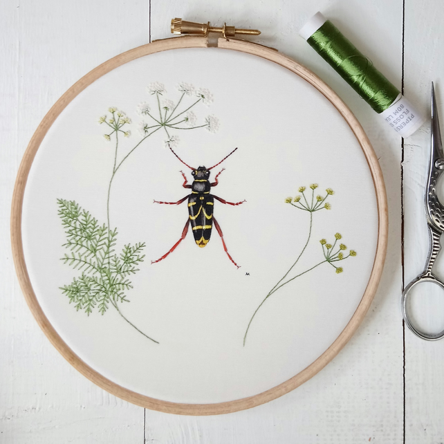 Hand Embroidered Silk Wasp Beetle with Cow Parsley