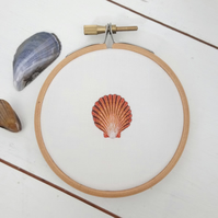 Hand Embroidered Silk Seashell