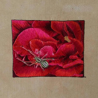 Hand Embroidered silk spider on rose