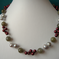 Labradorite, Shell, Cultured Pearl Necklace  - Sterling Silver - Handmade