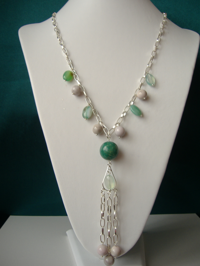 Green Agate, White Malachite & Amazonite Tassel Necklace  - Handmade