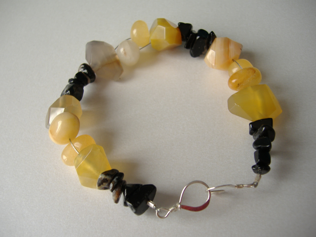Yellow Agate, Yellow Jade & Onyx Bracelet  - Handmade - Sterling Silver
