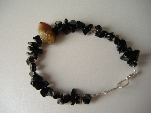 Multi Coloured Agate & Onyx Bracelet  - Handmade - Sterling Silver
