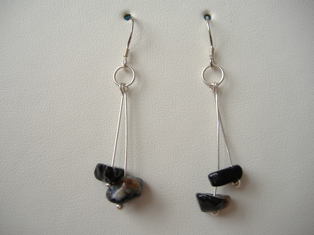 Black Onyx Earrings - Handmade - Sterling Silver - Genuine Gemstone
