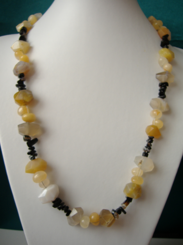 Yellow Agate, Yellow Jade & Onyx Necklace  - Handmade - Genuine Gemstone