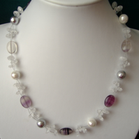 Rainbow Fluorite, Crackled Quartz & Shell Pearl Necklace - Sterling Silver