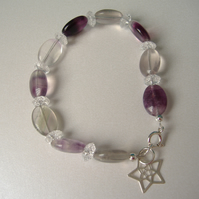 Rainbow Fluorite and Clear Crackled Quartz Bracelet - Sterling Silver
