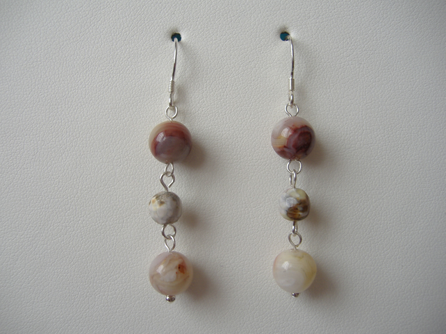 Fire Agate Beaded Earrings - Sterling Silver