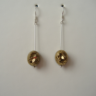 Gold Coated Druzy Agate Earrings - Sterling Silver