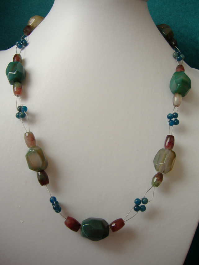 Green Agate, Apatite & Quartz Necklace - Sterling Silver