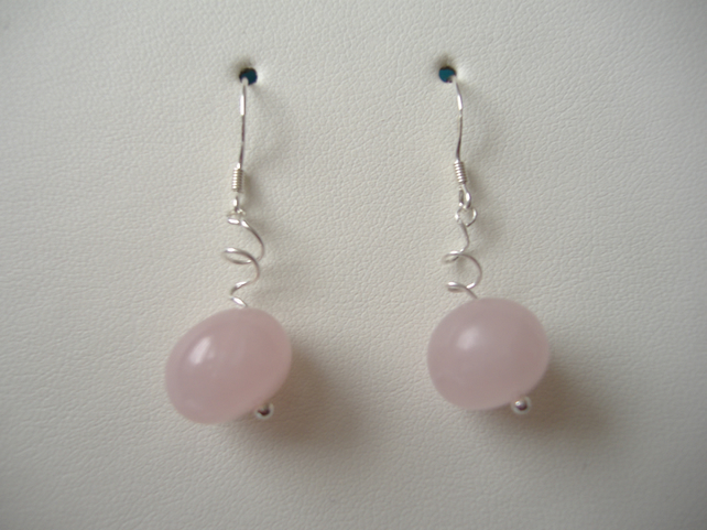 Rose Quartz Pebble Earrings - Sterling Silver - Handmade - Genuine Gemstone
