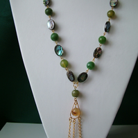Abalone & Green Agate Chandelier Necklace  - Handmade
