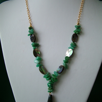 Abalone, Agate & Amazonite Chip Necklace  - Handmade