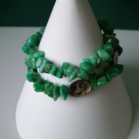 Abalone & Amazonite Chip Bracelet Set - Genuine Gemstone - Handmade