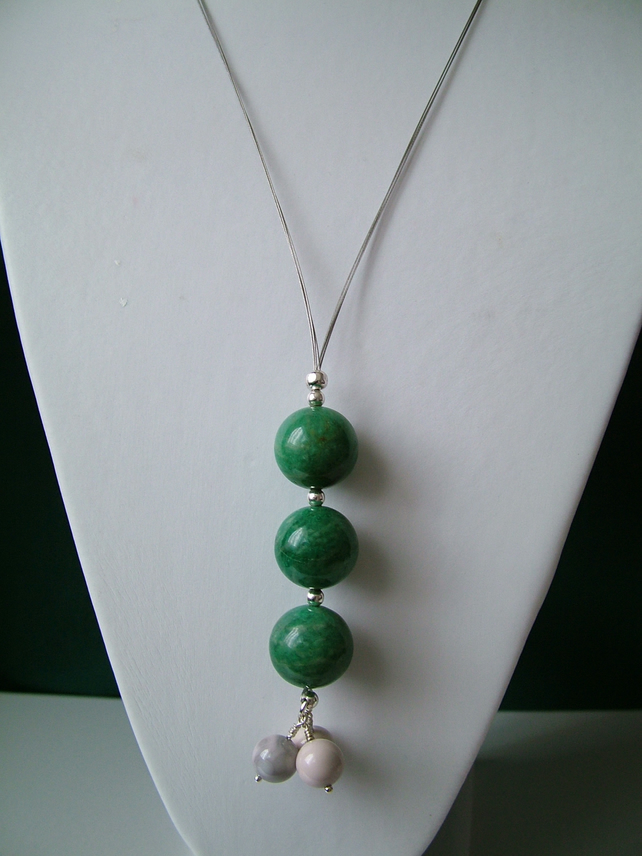 White Malachite & Amazonite Long Drop Necklace  - Handmade