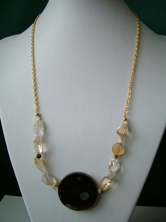 Citrine & Coffee Green Agate Necklace  - Genuine Gemstone - Handmade