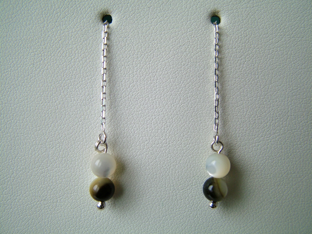 Shell Chain Drop Earrings - Sterling Silver - Genuine Gemstone - Handmade
