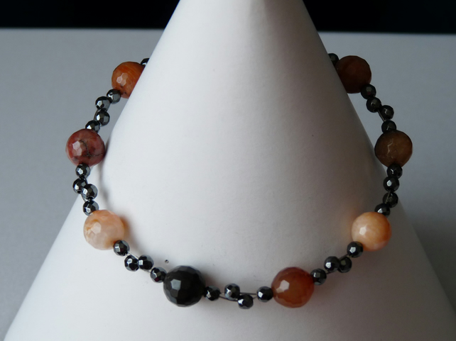 Mulit Coloured Agate & Haematite Bracelet - Genuine Gemstone - Sterling Silver