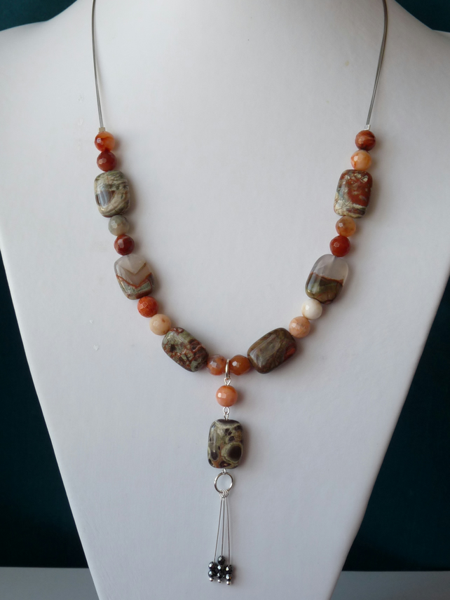 New Ocean Jasper & Agate Necklace  - Genuine Gemstone - Sterling Silver