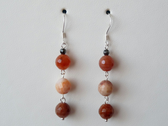 Mulit Coloured Agate Earrings - Genuine Gemstone - Sterling Silver