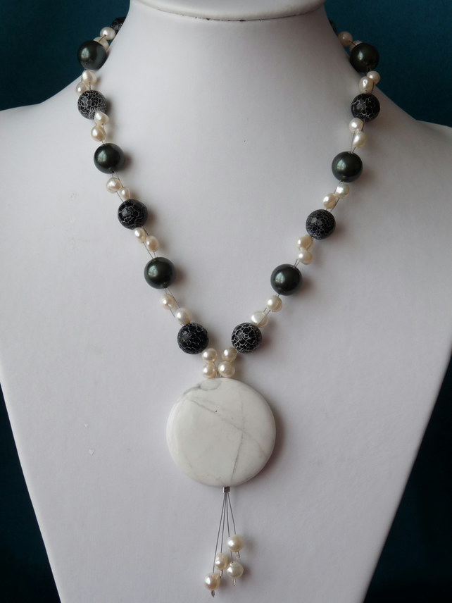 Black Agate, Freshwater Pearl & Howlite Pendant Necklace  - Genuine Gemstone